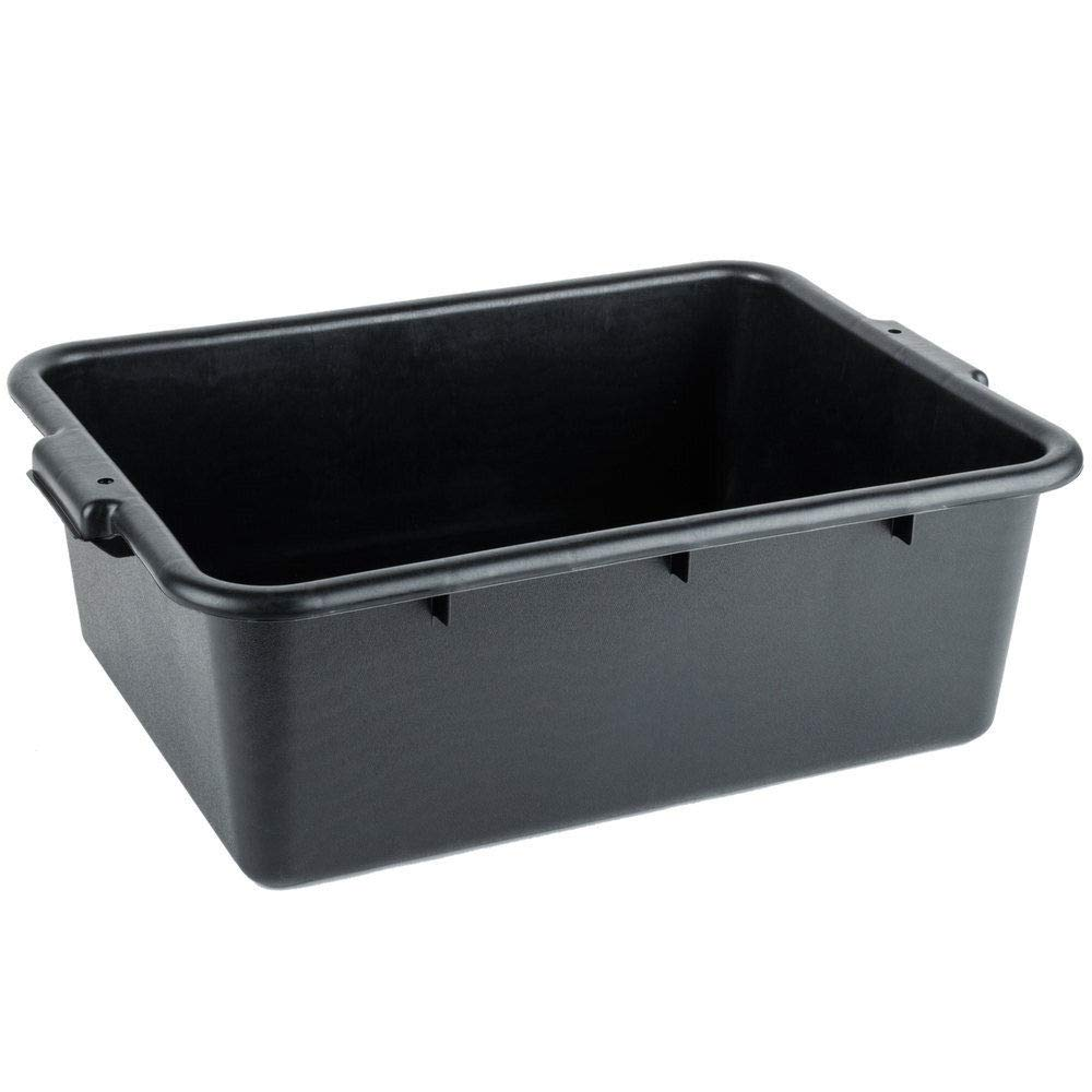 6-Pack Dish Bus Box by LPS 20 x 15 x 7 NSF Black Restaurant Bar Plastic Bus Tubs