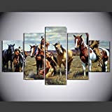 [LARGE] Premium Quality Canvas Printed Wall Art Poster 5 Pieces / 5 Pannel Wall Decor American Native Tribes Painting, Home Decor Pictures - With Wooden Frame