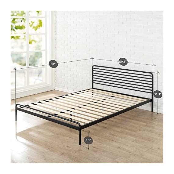 Zinus Tom Metal Platform Bed Frame / Mattress Foundation / No Box Spring Needed / Wood Slat Support / Design Award… - 10 inch high low profile foundation supports memory foam, Spring, and Hybrid mattresses Strong Steel frame structure with wood slats prevents sagging and increases mattress life Assembles easily in minutes/ Mattress sold separately - bedroom-furniture, bedroom, bed-frames - 51iyhPBL1dL. SS570  -