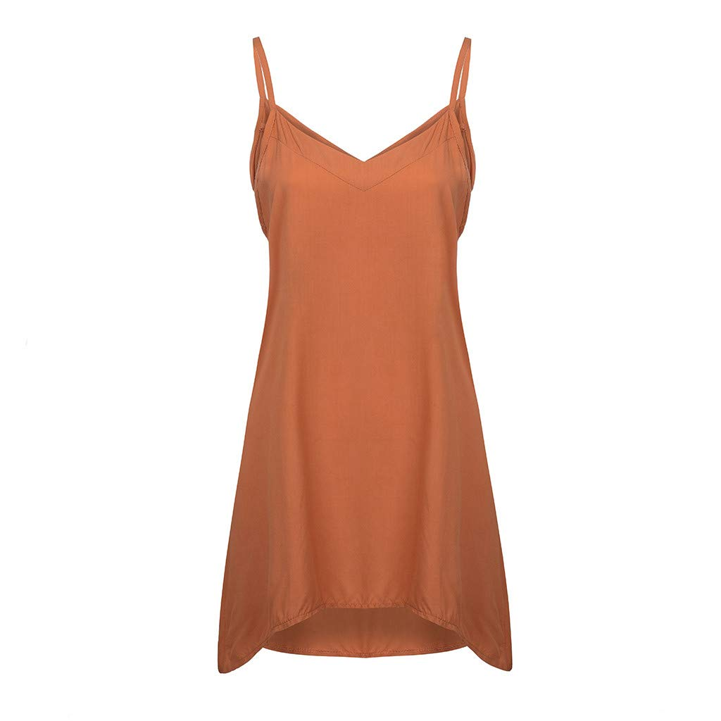 Chenchen Itd V-Neck Solid Color Camisole Sleeveless Casual Jacket Jacket T-Shirt Vest Top Ladies Orange