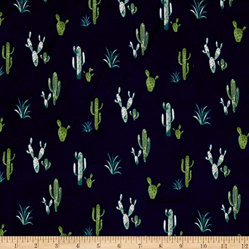 - Double Brushed Poly Jersey Knit Cactus Navy/Green Fabric by the Yard