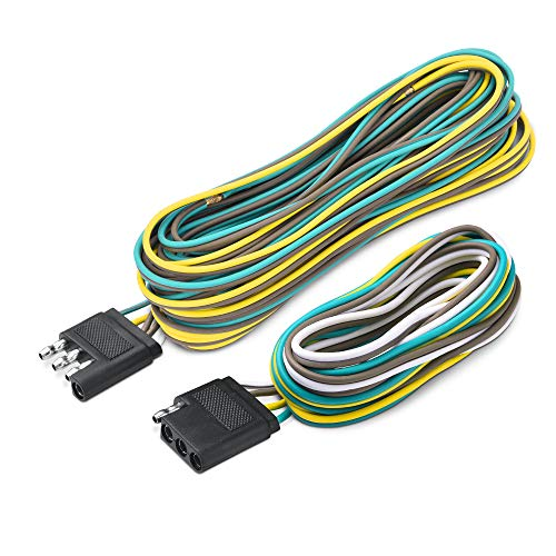 (MICTUNING Trailer Wiring Harness Extension Kit - 4 Pin 25 Feet Male and 6 Feet Female Connector, 18 AWG Color Coded 4-Way Flat Wires for Under or Over 80 Inches Wide Trailers)