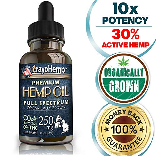Pure Organic Hemp Oil with MCT Oil for Dogs & Cats, for Calming Pet Anxiety & Stress, Natural Relief for Arthritis Pain, Hip & Joint Pain and Inflammation, Easily Apply to Treats, Grown & Made in USA