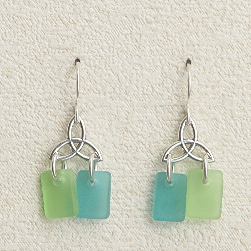 Sea Glass Celtic Knot Earrings, in the Beach Palette