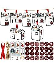 luminiu Adventskalender om te vullen, 24 kartonnen doosjes, kerstversiering + gekleurd touw, voor bruiloften, Kerstmis, countdown-partygeschenkdoos
