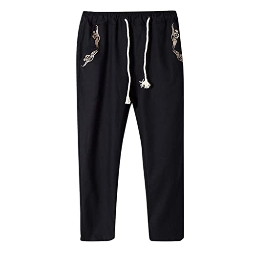 aa98437759 wodceeke Men Casual Beach Trousers, Cotton Linen Embroidered Loose Trousers  Harem Pants Summer Pants (