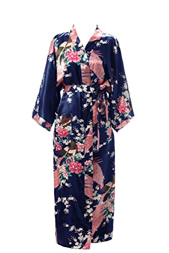 - J.ROBE Women's Kimono Robe Long Printed Lotus Kimono Robe Silk With Pockets Navy