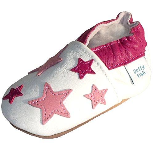 Dotty Fish Leder Babyschuhe - Baby Mädchen - weiß und hellrosa Sterne - Gr. 20