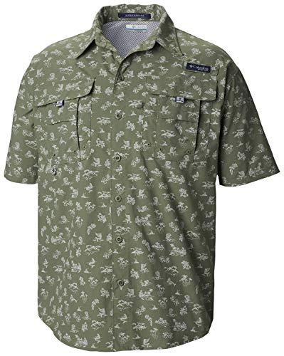 Columbia Men's PFG Super Bahama Short Sleeve Shirt, Cypress Mermaids N Marlins Print,XX-Large -