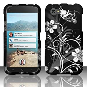 3-in-1 Bundle For HTC First - Hard Case Snap-on Cover (Black/Silver Flower)+ICE-CLEAR(TM) Screen Protector Shield(Ultra Clear)+Touch Screen Stylus