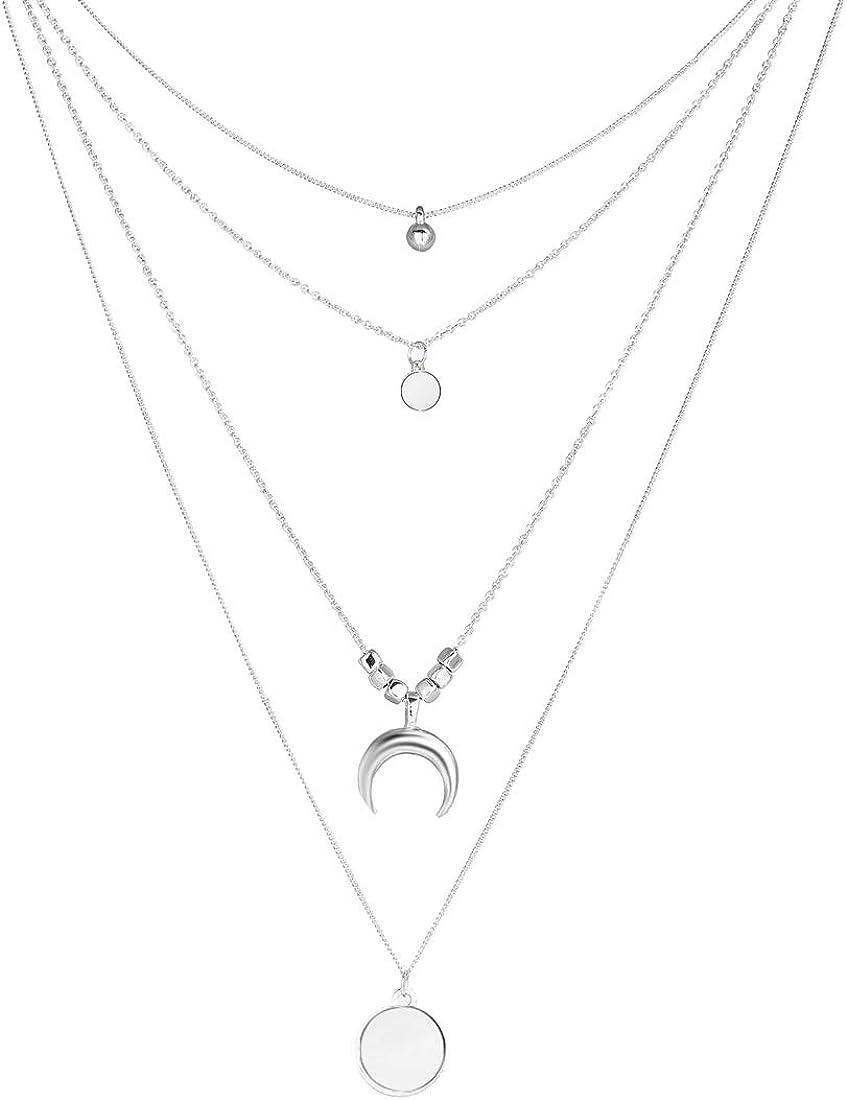 Larga Borla Luna Collares y Colgantes de múltiples Capas para Las Mujeres Lentejuelas Gargantilla Collar