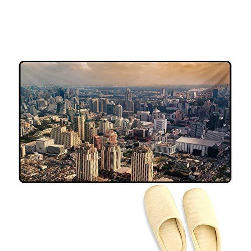 Door Mats,Aerial View of Bangkok City Metropolis Big Town Foggy Air Asian Panorama Art,Bath Mats for Bathroom,Cream Dust Peach,20