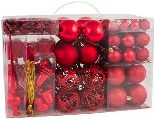 BRUBAKER 102 Pack Assorted Christmas Ball Ornaments - Shatterproof - with Green Pickle and Tree Topper - Designed in Germany - Red (Ornaments Christmas Red Shatterproof)