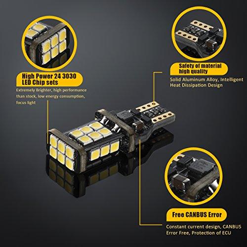 2018-UPGRADED-921-LED-Bulb-Backup-Lights-912T15-Reverse-Lights-SEALIGHT-Error-Free-Non-polarity-High-Power-24-LED-Chipsets-1600-Lumens-Cool-White-Xenon-6000K-1-Yr-Warranty-Pack-of-2