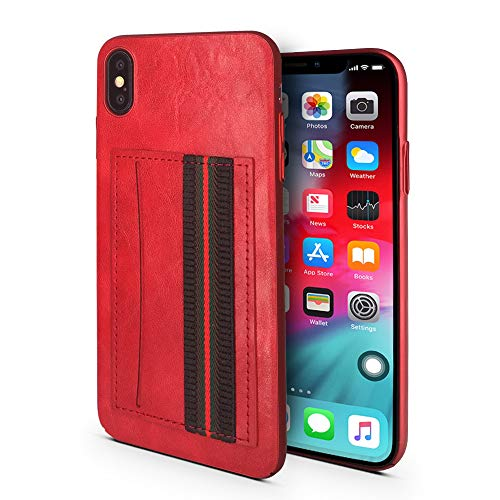 Case for iPhone Xs MAX | Hand Strap and Credit Card Pocket | Luxury Durable Embossed Leather Cover/Bumper/Skin/Cushion (Compatible only with The 6.5