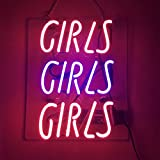 LiQi  Pink Girls Real Glass Handmade Neon Wall Signs for Room Decor Home Bedroom Girls Pub Hotel Beach Cocktail Recreational Game Room (12' x 10')