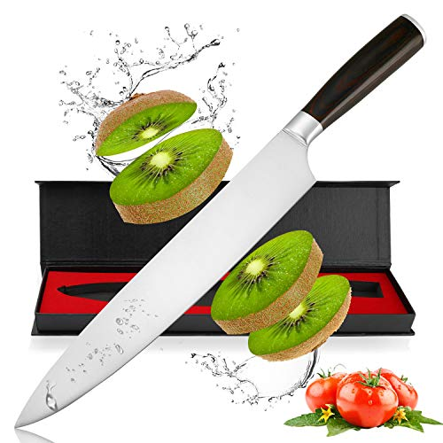 Chef Knife, Pro Kitchen Knife 10 Inch German High Carbon Stainless Steel Chefs Knife with Ergonomic Handle for Home Kitchen and Restaurant