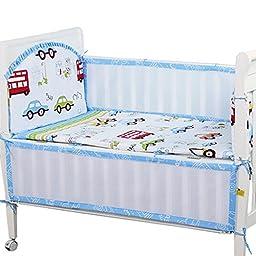 Set of 4 Nursery Baby bassinet/Crib Bedding Bumper Kids Safety Cushion LittleCar