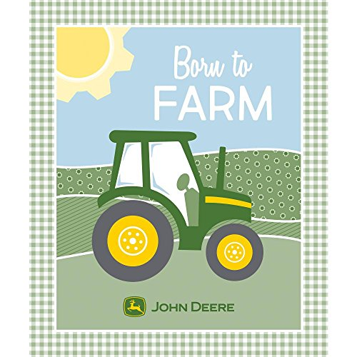 John Deere Panel Born to Farm in Green/Yellow/Blue Fabric by The (Farm Panel)