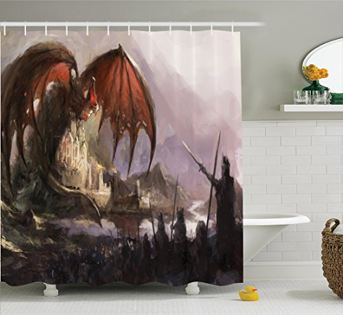 or Collection, Medieval Fantasy Theme Dragon and Dark Knights in Battle Scene with Fortress Castle, Polyester Fabric Bathroom Shower Curtain Set with Hooks, Grey Rustic Red (Dark Fortress Set)