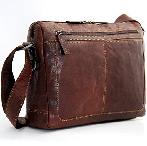 Jack George Men's Voyager Leather Zippered Messenger Bag,...