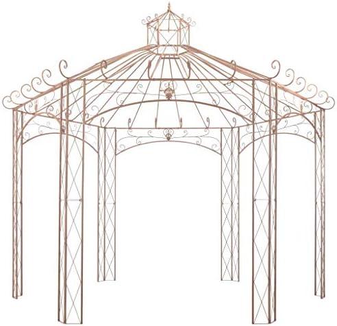 Festnight Cenador Pérgola de Jardín con Diseño de Arco Marrón Antiguo 4 m Hierro: Amazon.es: Hogar