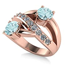 """Allurez Aquamarine and Diamond Pave """"Ever Together"""" 2-Stone Ring in 14k Rose Gold (2.00ct)"""