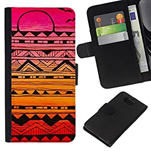 All Phone Most Case / Oferta Especial Cáscara Funda de cuero Monedero Cubierta de proteccion Caso / Wallet Case for Samsung ALPHA G850 // Abstract Ink Art Black Colorful Sunset Pink