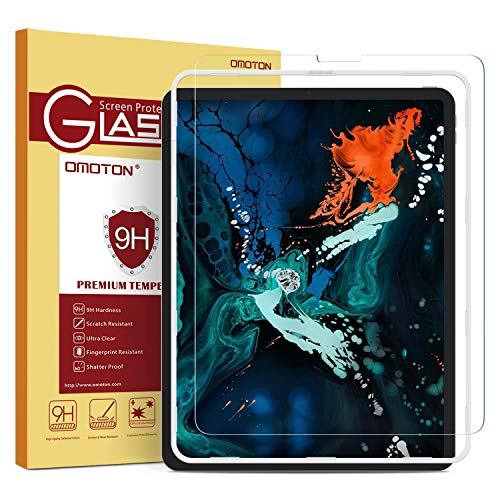 OMOTON Tempered Glass Screen Protector for iPad Pro 12.9 2018 Release (3rd Generation) - Sentive Touch, Apple Pencil & Face ID Compatible
