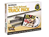 Bachmann Trains Snap-Fit E-Z TRACK WORLD'S GREATEST HOBBY FIRST RAILROAD TRACK PACK - NICKEL SILVER Rail With Grey Roadbed - HO Scale
