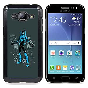 - Superhero Comic Game Character Blue Black - - Snap-On Rugged Hard Cover Case Funny HouseFOR Samsung Galaxy J2