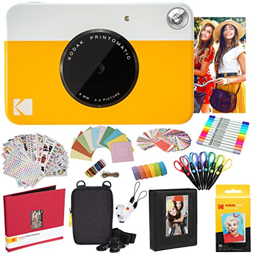 Kodak Printomatic Instant Camera (Yellow) All-In-Bundle + Zink Paper (20 Sheets) + Deluxe Case + Photo Album + 7 Unique Sticker Sets + Markers + Scissors + Border Stickers and So Much More