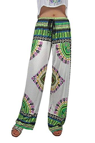 Vintage Stile Pantaloni Elegantichic Pantaloni Hipster Etnico Weimilon Palazzo Tempo Libero Pantaloni Vita 8 Sciolto Stil Donna Baggy Di Pantaloni Hippie Lanterna Pattern Stampato Elastica Boho Y74vqXw