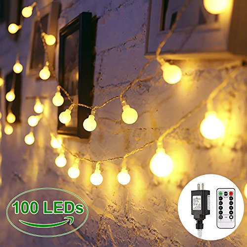 Globe String Lights, 100 LED Decorative String Lights Outdoor, Plug in String Lights, Waterproof Fairy Lights Remote Control, 44 Ft, Warm White String Light for Patio Garden Party Xmas Tree (Decorative Party Tent)