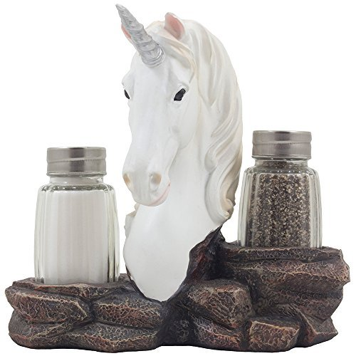 Magical Unicorn Glass Salt and Pepper Shaker Set with Decorative Figurine Display Stand Holder for Mythological and Medieval Kitchen Table Decor Centerpieces As Fantasy Mother's Day Gifts for Mom