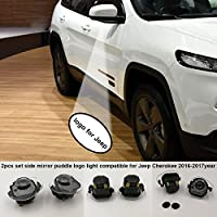 2pcs set Side rear view mirror projector ghost shadow puddle logo light compatible for 2017 Jeep Cherokee 75th Anniversary/ Limited/Sport/Latitude/Overland/Trailhawk 2016-2017year plug and play
