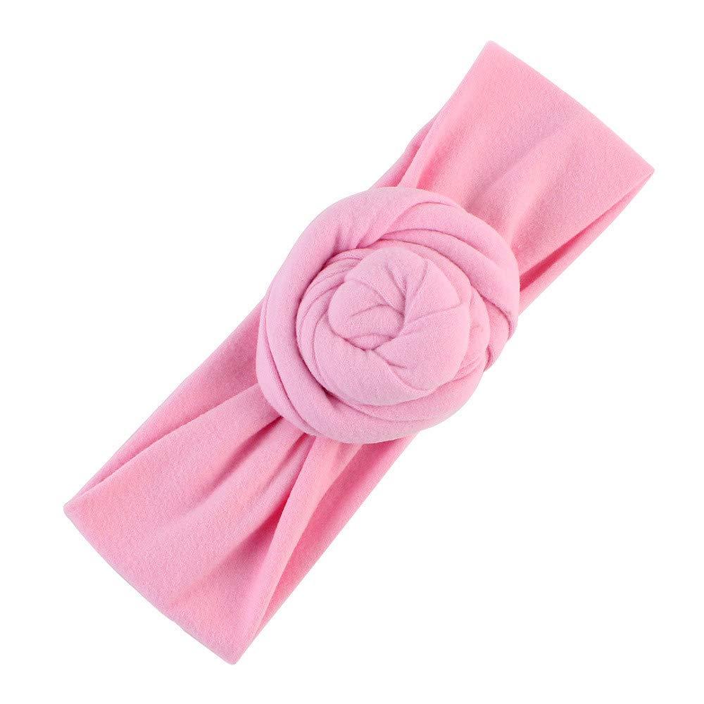 NUWFOR Cute Kids Girls Baby Toddler Turban Knot Headband Hair Band Accessories Headwear Pink