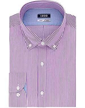 Men's Slim Fit Stripe Buttondown Collar Dress Shirt