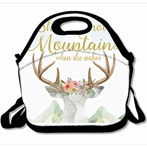 Cottage Modular Office (Ahawoso Reusable Insulated Lunch Tote Bag Watercolor Blush Boho Deer Move Mountains Girl Nursery Gold 10X11 Zippered Neoprene School Picnic Gourmet Lunchbox)