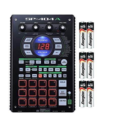 Roland SP-404A Linear Wave Sampler Drum Machine with Pattern Sequencer, 12 Performance Pads, 3 Control Knobs, Sub Pad, 29 Onboard DSP Effects & Built-in Microphone with (3) Pack of Generic AA Battery