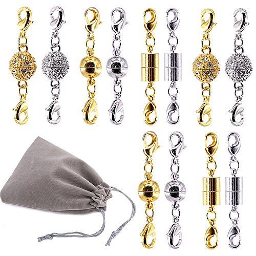 Swpeet 12Pcs Magnetic Lobster Clasps Kit, Including 4 Pieces Rhinestone Ball Magnetic Clasps, 4 Pieces Ball Magnetic Clasps and 4 Pieces Cuboids Magnetic Clasps Perfect for Jewelry Necklace Bracelet (Magnet Jewelry Clasp)