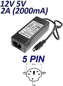 Cargador Corriente 12V 5V 2A 2000mA 5 Pin Reemplazo Disco Duro ...