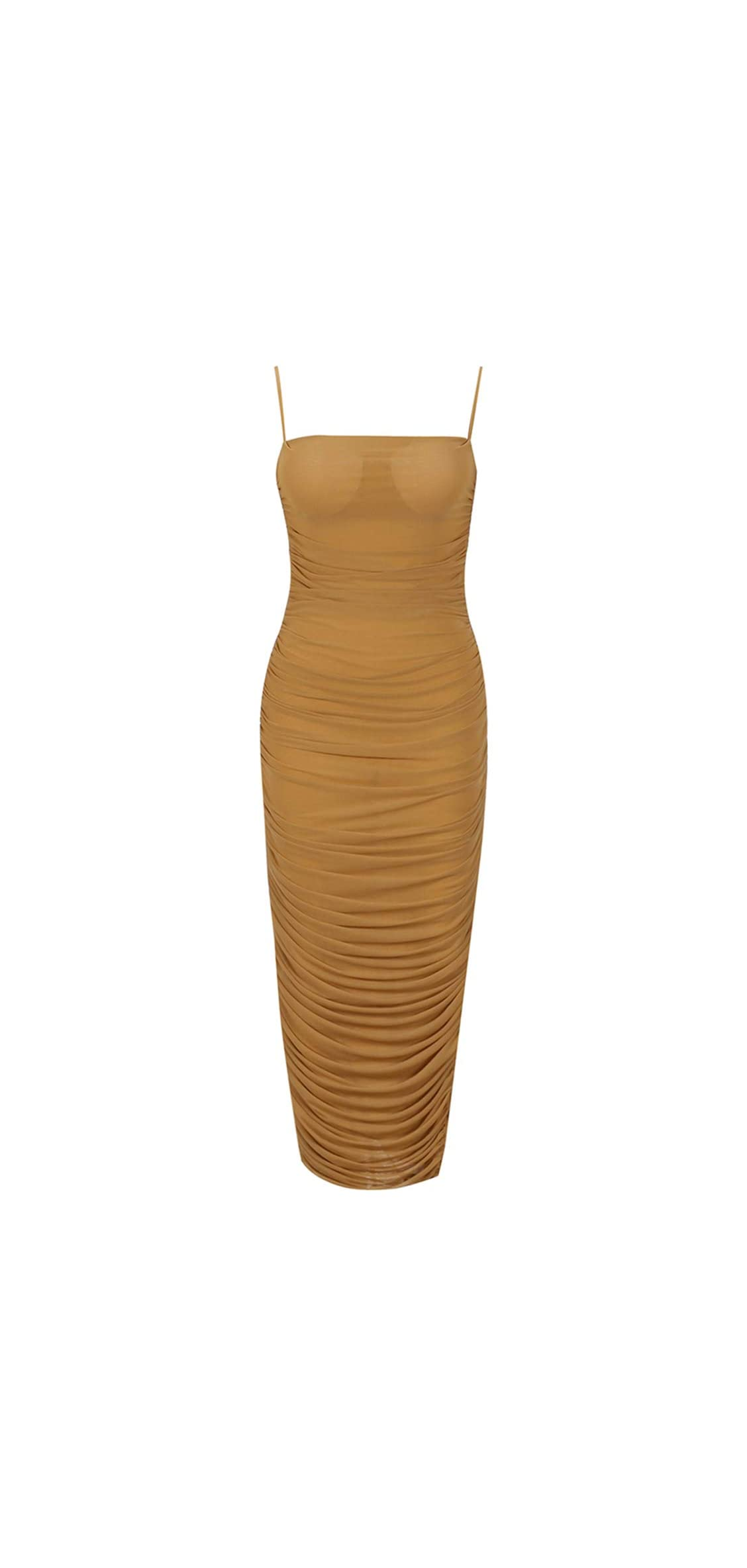 Women's Sexy Mesh See Through Ruched Cocktail Party Midi