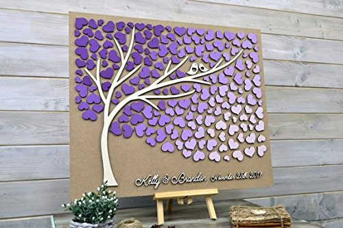 Custom colors Wedding guest book alternative 3D tree wood Ultraviolet wedding guest book Unique guestbook wooden Tree of life Wedding gift
