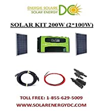 Solar Panel kit - kit panneau solaire polycrystalline 2*100 W Watt 200W (comes with 3ft cable, mc4 connector and MC4 Y 2 in 1), with 30A MPPT charge controller, 2*20Ft cable 12AWG (panel to controller) and 2*7Ft cable 12AWg (controller to battery)