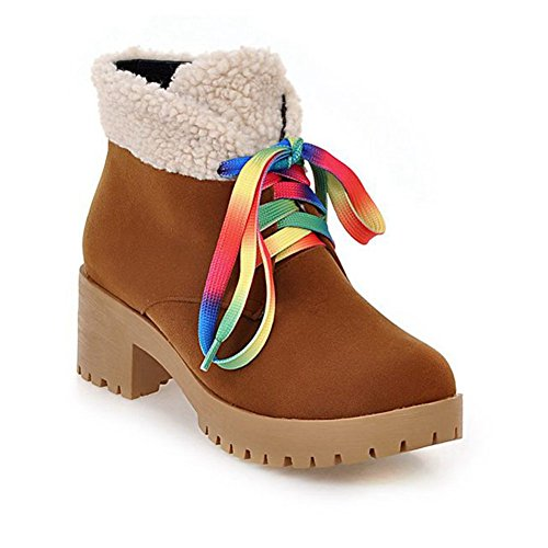 Fur Up Faux Winter Womens Warm Brown Leather Nubuck Lace DecoStain With Shoes Boots Block Ankle Heel wTAWfPxE