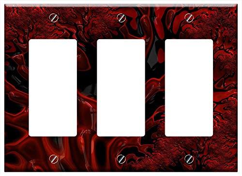 (Switch Plate Triple Rocker/GFCI - Fractal Red Black Glossy Pattern Decorative )