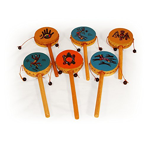 Spin Drum Twelve Pack Assortment Wholesale Set Hand Painted Peru Fair Trade Percussion Drums -