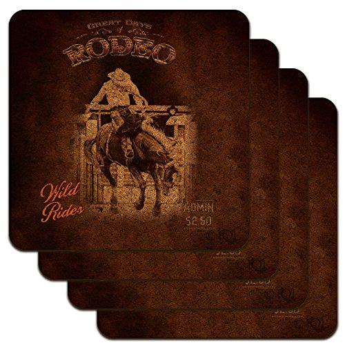 Cowboy Western Rodeo Vintage Horse Bucking Riding Low Profile Novelty Cork Coaster Set