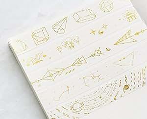 Dorar bblythe 10rollos cinta adhesiva con estampado flores cinta de carrocero cinta adhesiva de papel para manualidades, decorar Craft recortes (papel de regalo, regalo, Washi Cintas brillantes cintas adhesivas Gold Star trails